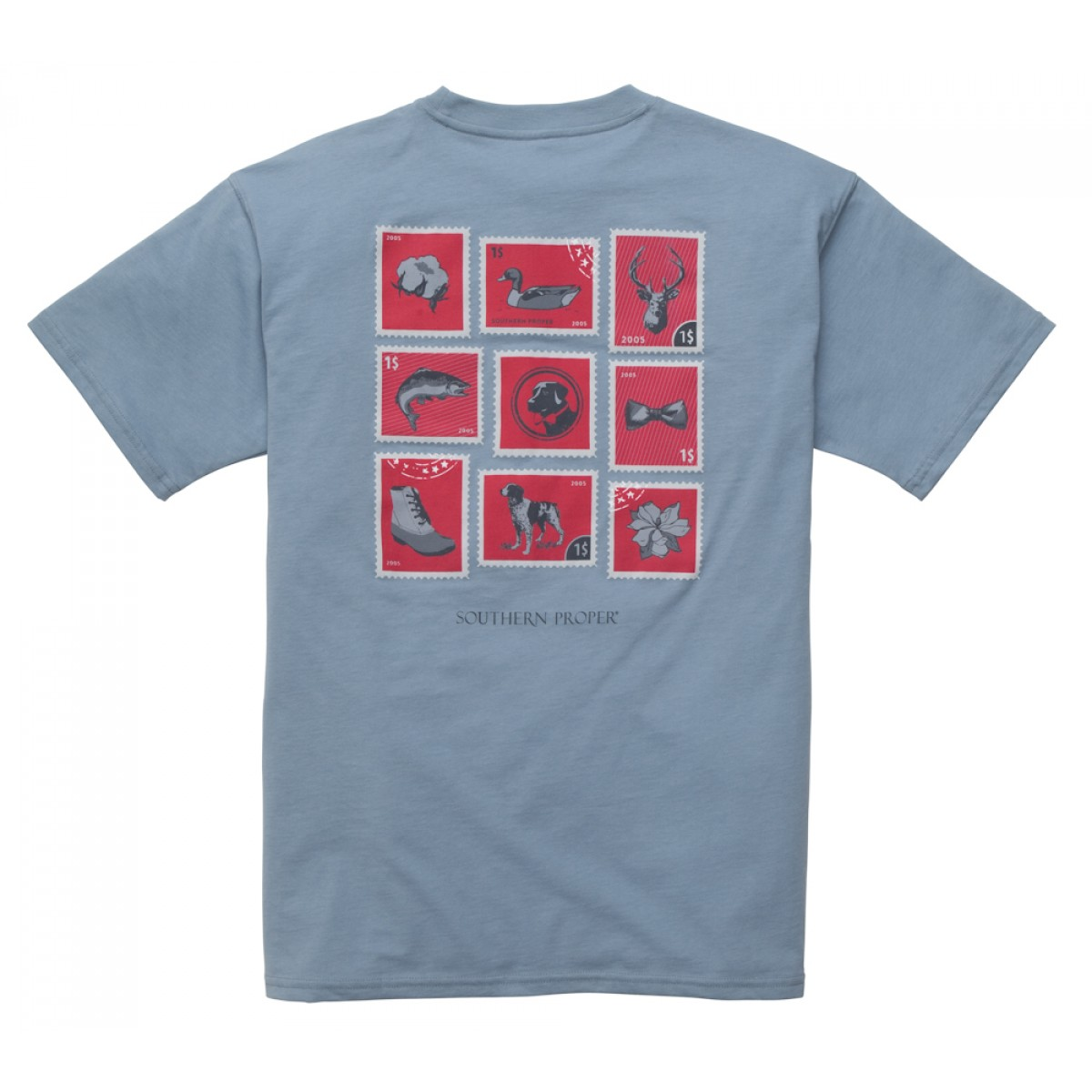 Southern Stamp Tee: Faded Blue Short Sleeve